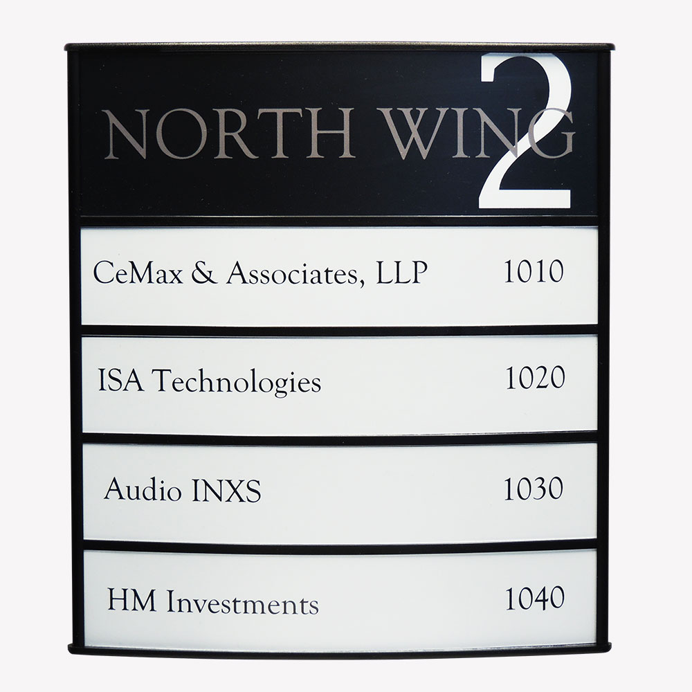 Vista Horizontal Curved Directory Sign - G1000
