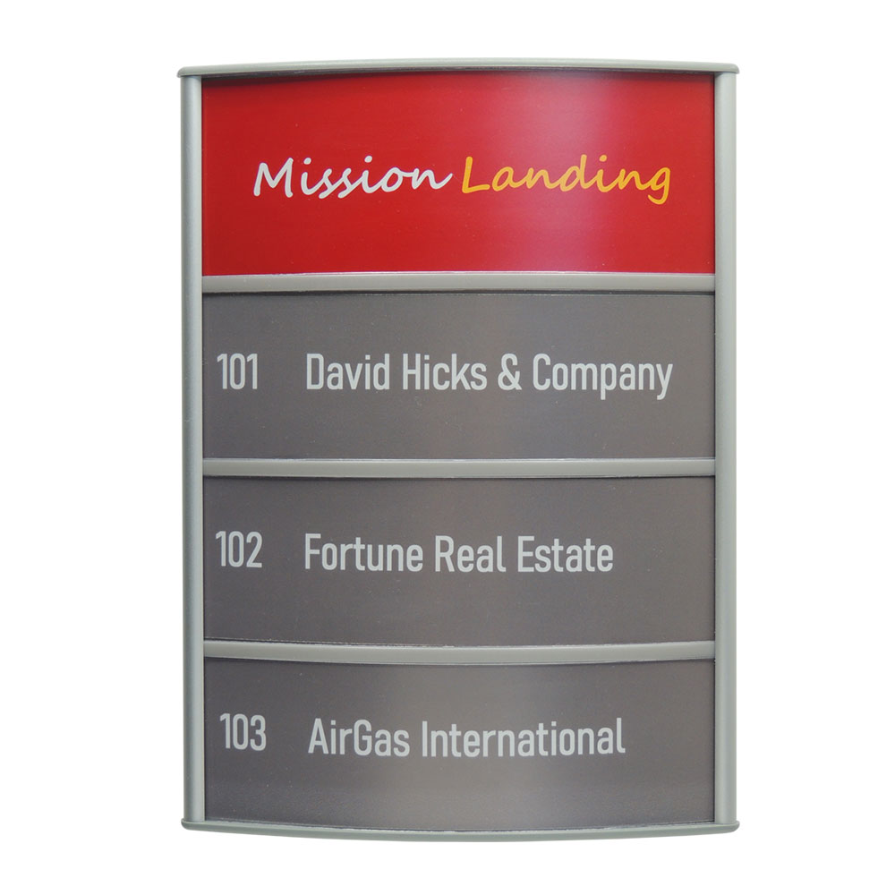 Vista Horizontal Curved Directory Sign - G1010