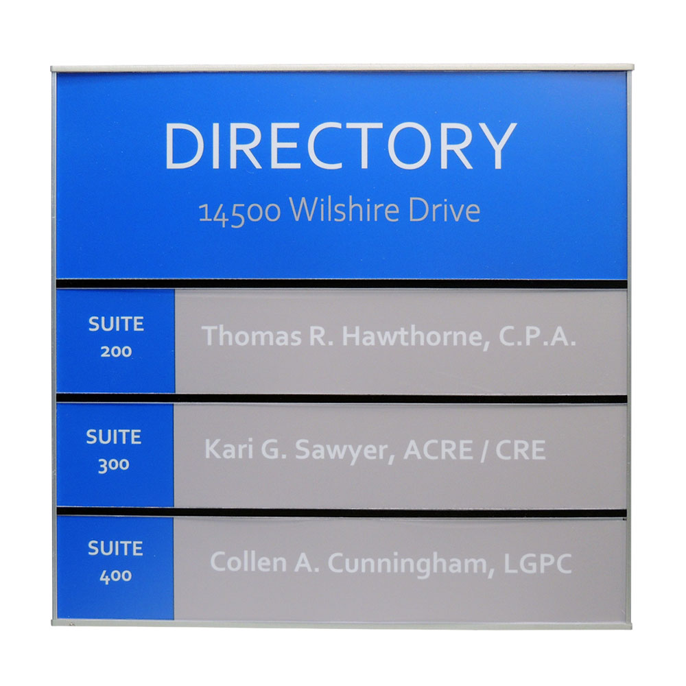 Sharp Portrait Directory Sign - G1140