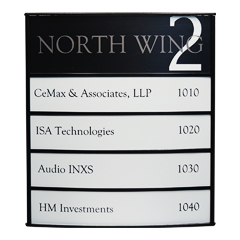 Horizontally Curved Vista System Office Directory Sign 1
